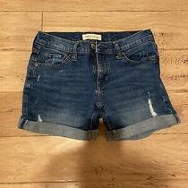 Gap 1969 Womens 5 Dark Blue Denim Distressed Jean Cuffed Shorts 24 Photo