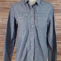 Gap 1969 Women's Polka Dot Button Down Boyfriend Shirt Sz Xs Blue Long Sleeve  Photo