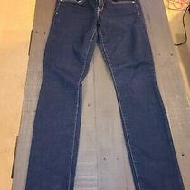 Gap 1969 Womens Real Straight Dark Wash Denim Mid Rise Blue Jeans Size 28/6 Euc  Photo