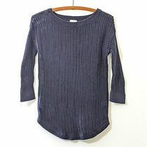 Gap 3/4 Sleeve Long Open Knit Sweater Blue Xs Photo