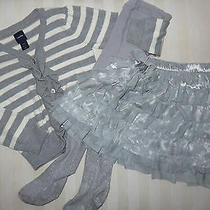 Gap 3pc Set Cardigan Tulle Skirt Tights Size 4t Euc Photo