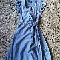 Gap a-Line Blue Chambray Wrap Dress Size 0 Photo