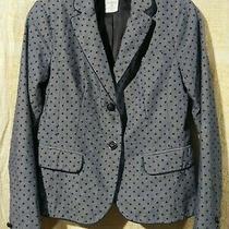 Gap Academy Blazer Jacket Sz 0 Small Polka Dot Blue Chambray Casual Spring Euc Photo