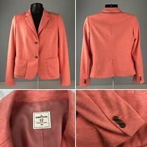 Gap Academy Classic Blazer Jacket Sz 12 Ponte Knit Coral Pink Heather Pockets  Photo