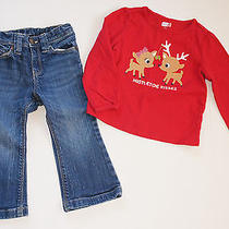 Gap and Crazy 8 Outfit - Holiday Reindeer Top W/denim Jeans 2t Euc Photo