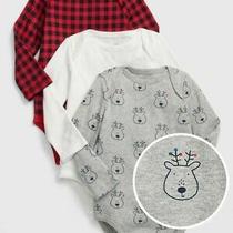Gap Baby 3m Boy 3-Pack Bodysuit Reindeer Size 0-3 Months Photo