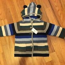 Gap Baby Boy Blue Grey Striped Sweater With Hood Size 18-24m Photo