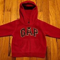 Gap Baby Boy Red Warm Fleece Zip-Up Logo Hoodie Size 6-12 Months Photo