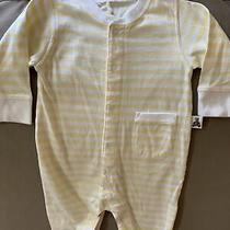 Gap Baby Boy Size 0-3 Months Long Sleeve Yellow & White Striped Coverall Photo