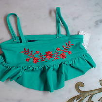 Gap Baby Girl Aqua Blue Flower Ruffle Swimwear Floral Swim Top Shirt 12 18 M Nwt Photo
