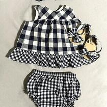 Gap Baby Girl  Black and White Gingham Flutter Outfit Set 6-12 Months. Photo