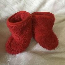 Gap Baby Girl / Boy Cozy Bear Booties Socks Shoes Red Size 0-3 Photo