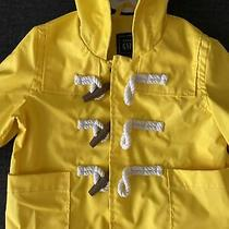 Gap Baby Girl Bright Yellow Water Resistant Hooded Rain Jacket Size 6-12 Months Photo