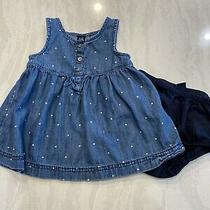 Gap Baby Girl Denim Polka Dot Dress Bloomers 6-12 Months Photo