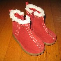 Gap Baby Girl's Red Suede Ankle Boots Size 4 Us Fur Trim Photo