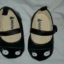 Gap Baby Girl Size 6-12 Months Black Spooky Eye Ballet Flats Photo