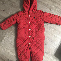 Gap Baby Girl Size 6 Months Red Snowsuit Fleece Lined Embroidered Very Good Cond Photo