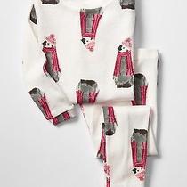 Gap Baby Girls 6-12 Months White Festive Christmas Penguin 2-Piece Pajama Pj Set Photo