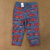 Gap Baby Size 18/24 Months Blue Fire Truck Print Pull-on Joggers Nwt Photo