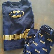 Gap Baby Toddler Boys Size 12-18 Months Navy Gold Batman Pajamas Pj Set Costume Photo