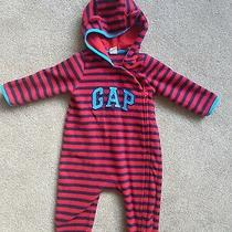 Gap Baby Toddler One Piece Romper. Red & Blue stripes.zip Front. 12-18 Months  Photo