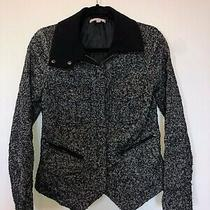 Gap Black and Gray Wool Blend Zip Blazer Jacket Long Sleeve Women's Xs Euc Photo