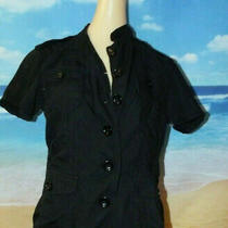 Gap Black Button Down Big Button Short Sleeve Jacket Top Blouse Size Small S Photo