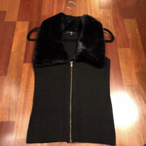 Gap Black Faux Fur Knit Vest Size Xs Winter Holiday Snow Bunny Ski Lodge Luxe Photo