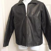Gap Black Genuine Leather Jacket Xs Lined Photo