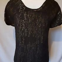 Gap Black & Gold Top With Tie Neck Size Xs / 6- 8 Party  Photo