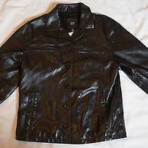 Gap Black Leather Jacket Sz Xl Children Photo