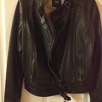 Gap Black Leather Motorcycle Jacket Size M Photo