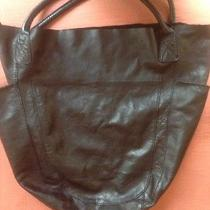 Gap Black Leather Tote Leather Gently Used Photo