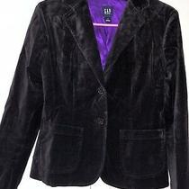 Gap Black Purple Velvet Felt Fully Lined Blazer 4 Photo