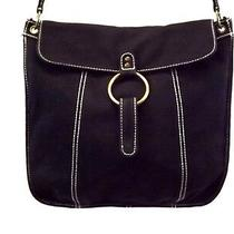 Gap Black Shoulder Bag Purse Handbag Canvas Leather Trim Large Photo