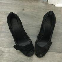 Gap Black Suede Wedge Heel Peep Toe Pump Slip-on Shoes - Size 7 Photo