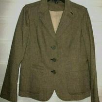 Gap Black Tan Tweed Wool Cotton Blend Blazer Sport Coat Size 12 Ec Photo