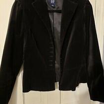 Gap Black Velvet Velour 10 Small Button Up Lined Blazer Jacket Women's Size 6 Photo