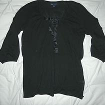  Gap Black W Satin Ribbon Tie at Neck Cotton Shirt Top Pullover M Photo