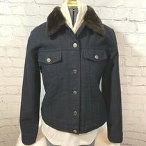 Gap Black Wool Jean Jacket Coat W/ Faux Fur Collar Women's Size Xs Photo