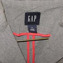 Gap Blazer Jacket Sz 6 Gray Checked Summer Weight Fitted Stretch Cotton Euc Photo