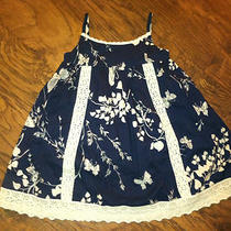 Gap Bloom Navy Crochet Trim Lace Edging Butterfly Dress Lnc 4-5 Years Boutique  Photo