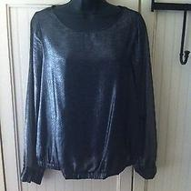 Gap Blouse Ladies Xs Shimmer Silver  See Through Arms Long Sleeve Spring Photo