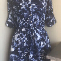Gap Blue and White Roll Sleeve Dress Size Small Photo