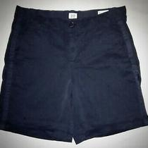 Gap Blue Cotton Stretch Classic-Rise Girlfriend Chino Shorts  Size 0 Photo
