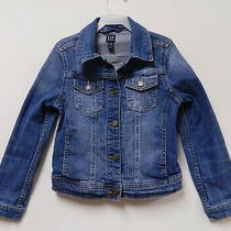 Gap Blue Denim Jean Jacket Kids Small 4t 5t Pockets Snap Front Factory Distress Photo