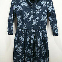 Gap Blue Floral Full Button Pleated Dress Size Xs 139859 Photo