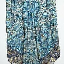 Gap Blue Green Silk Paisley Handkerchief Hemline Skirt Sz 10 Midi Photo