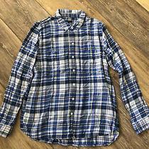 Gap Blue Plaid Button Up Top Size M Photo