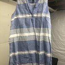 Gap Blue Striped Sleeveless Womens Dress Large Button v Neck Vguc Photo